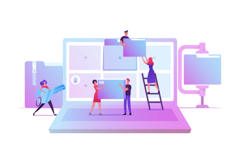 Business Characters at Huge Laptop with Folders on Screen Illustration