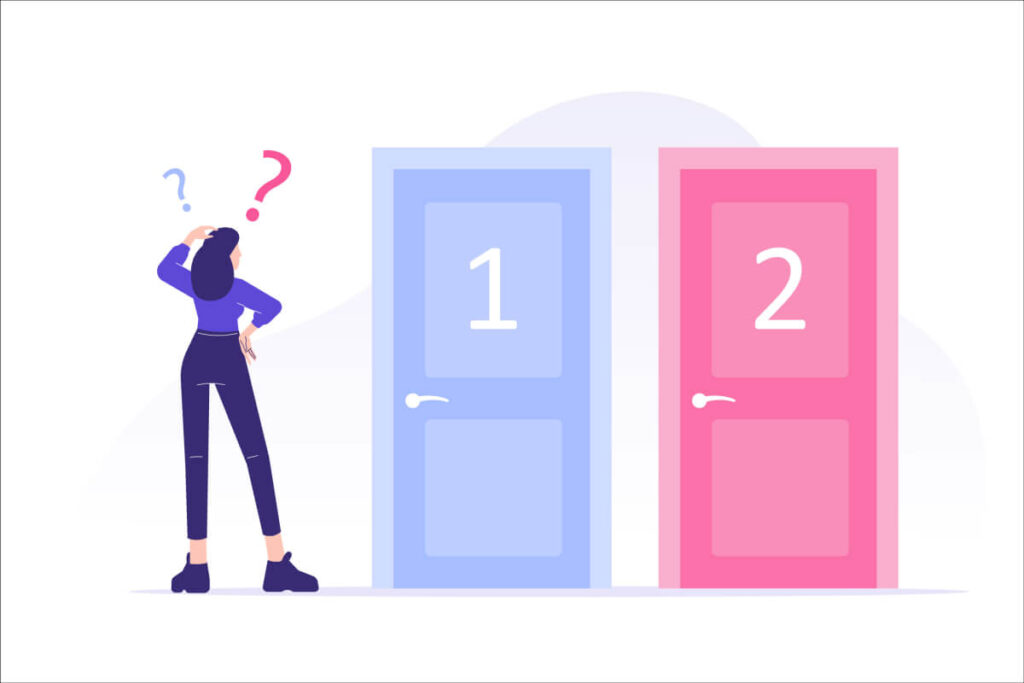 Confused woman standing in front of pink and purple doors with numbers one and two