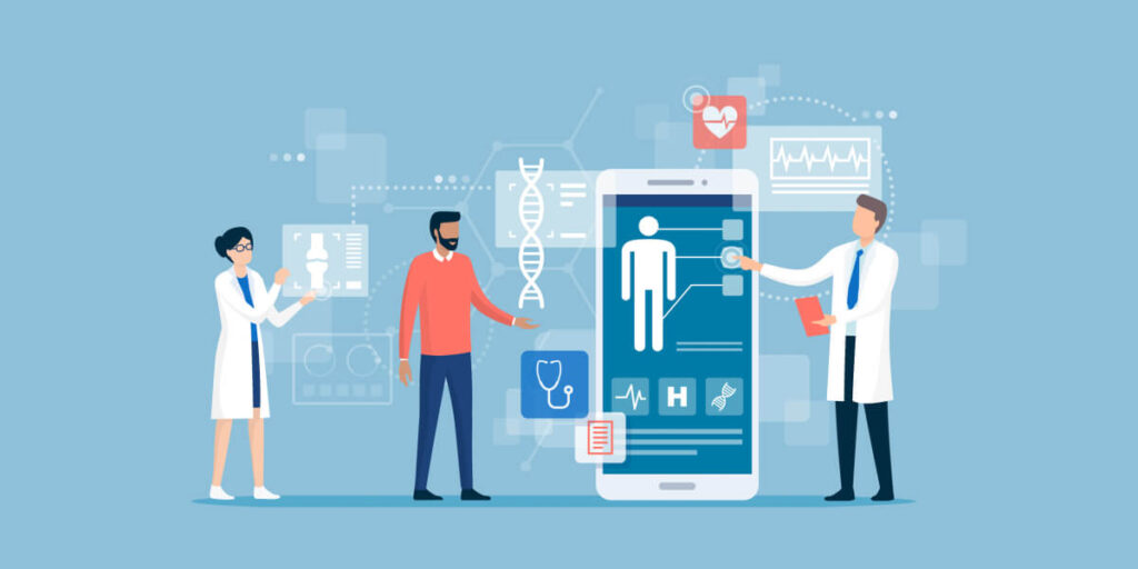 Doctors examining a patient using a medical app on a smartphone