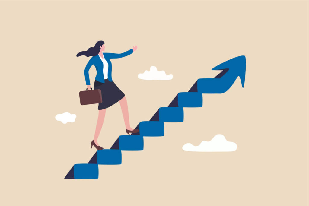businesswoman take small step walking up staircase with arrow pointing up
