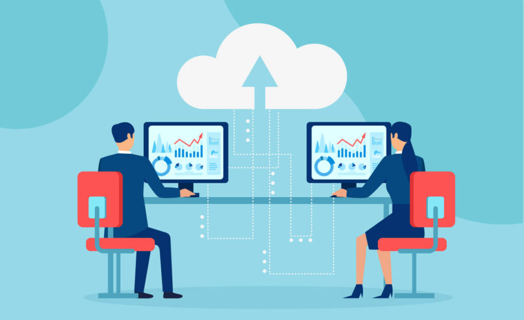 An illustration of a two people sitting at a computer. A cloud with an arrow inside connected to computers.